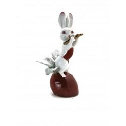 Conejo flautista de porcelana
